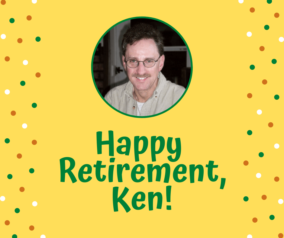 "profile photo of Ken Deutsch with text on bright yellow background: ""Happy Retirement, Ken!"""