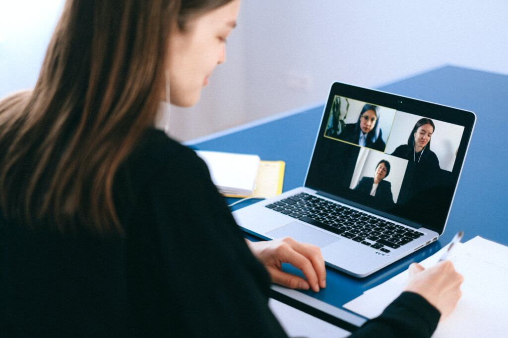 Student on Zoom call; Core Competencies for Remote Transcribers