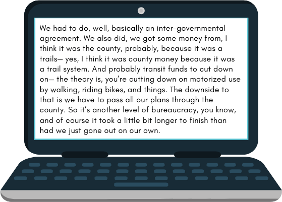 Sample verbatim transcript on a laptop screen